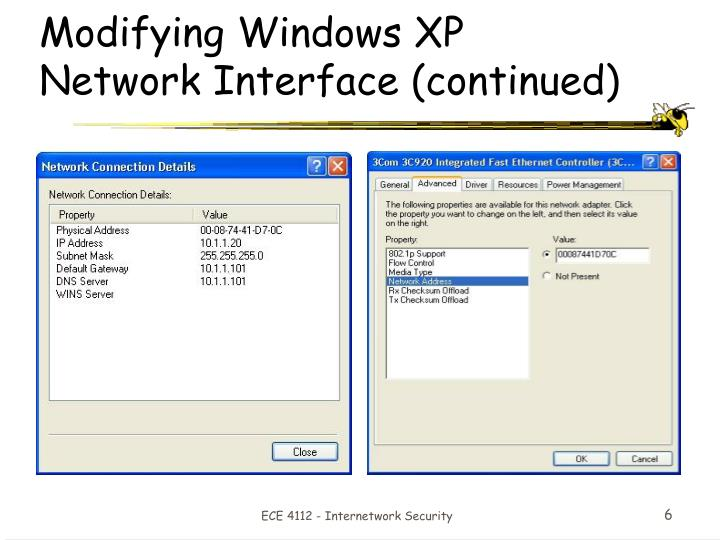 Modifying Windows XP Network Interface (continued)