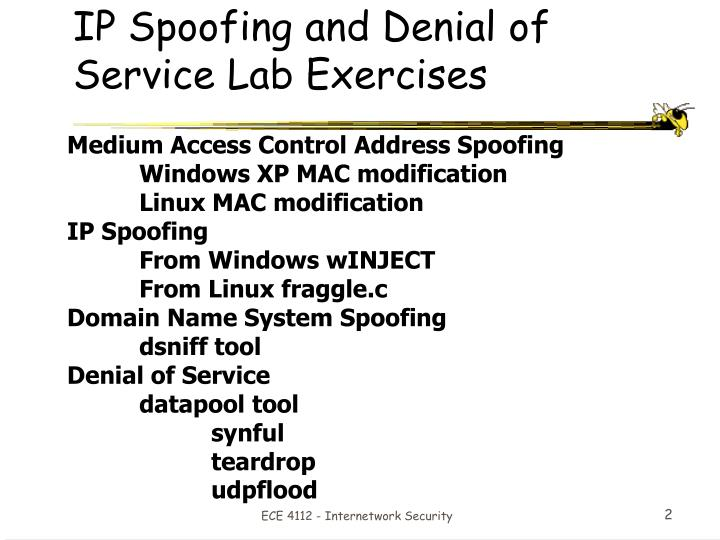 IP Spoofing and Denial of Service Lab Exercises