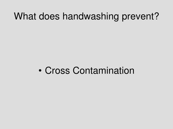What does handwashing prevent?