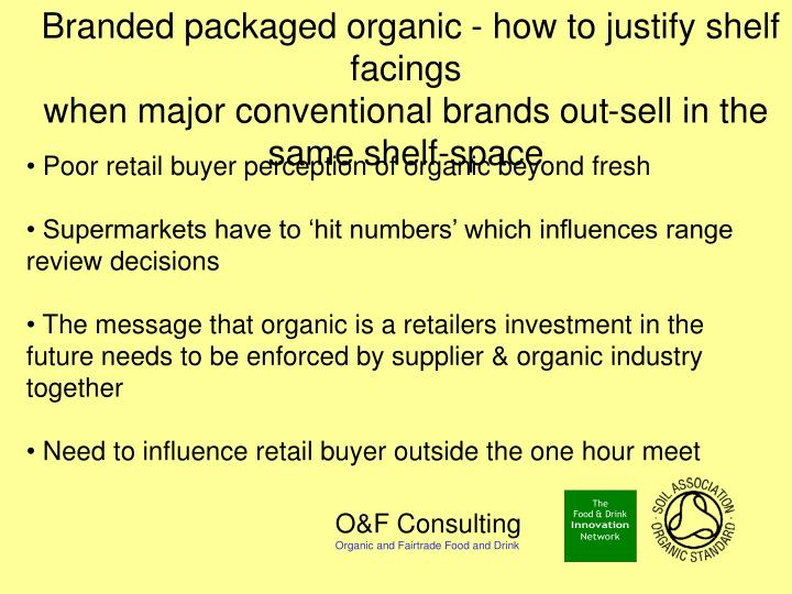 Branded packaged organic - how to justify shelf facings