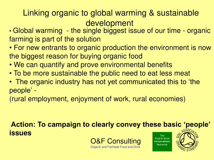 Linking organic to global warming & sustainable development