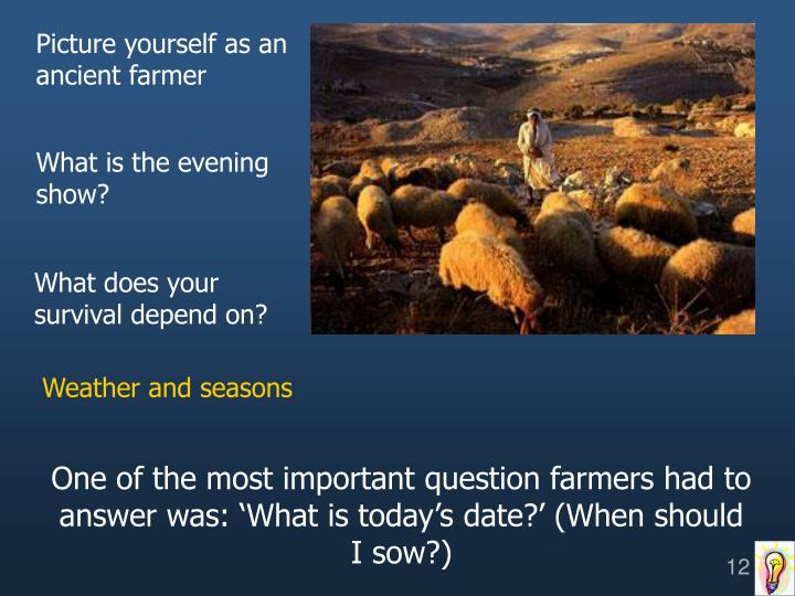 Picture yourself as an ancient farmer