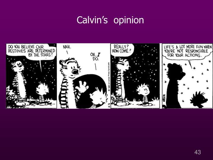 Calvin's  opinion