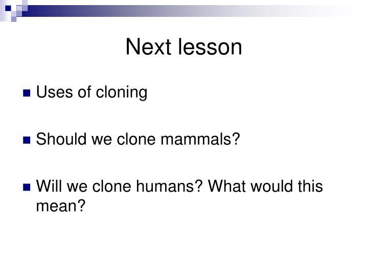 Next lesson