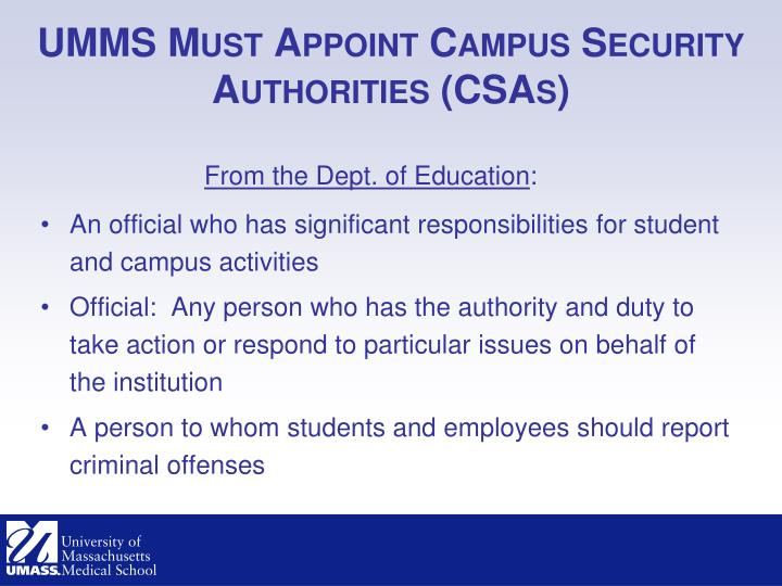 UMMS Must Appoint Campus Security Authorities (CSAs)