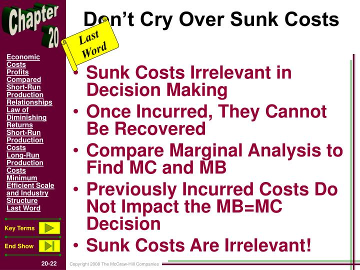 Don't Cry Over Sunk Costs