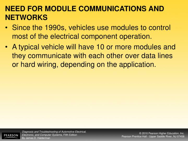 Need for module communications and networks