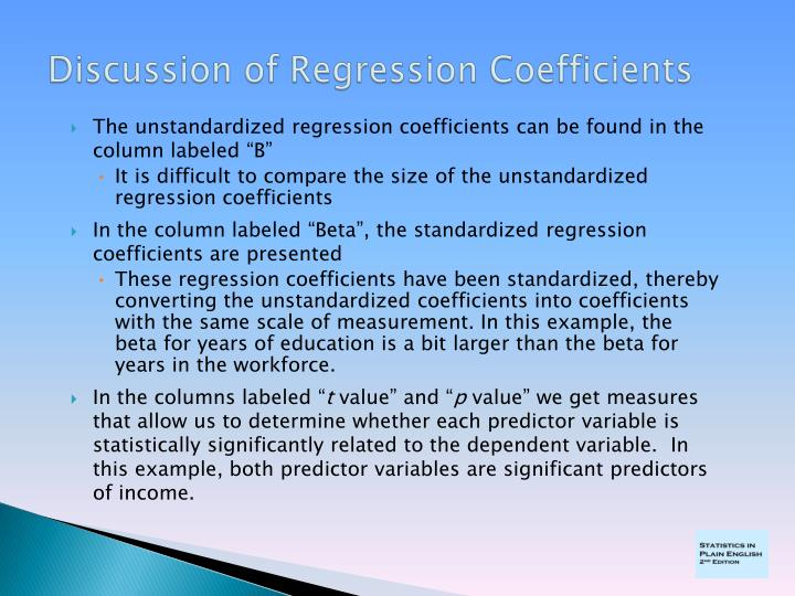"The unstandardized regression coefficients can be found in the column labeled ""B"""