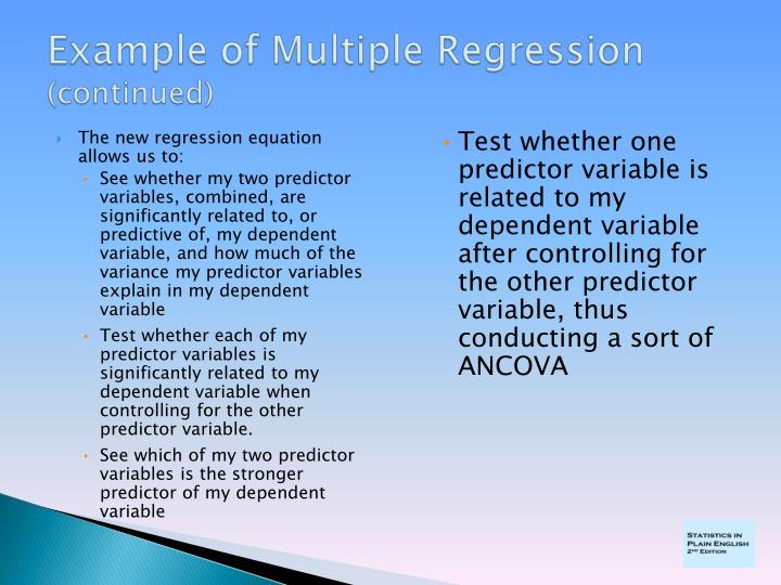Example of multiple regression continued