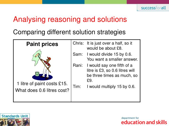 Comparing different solution strategies