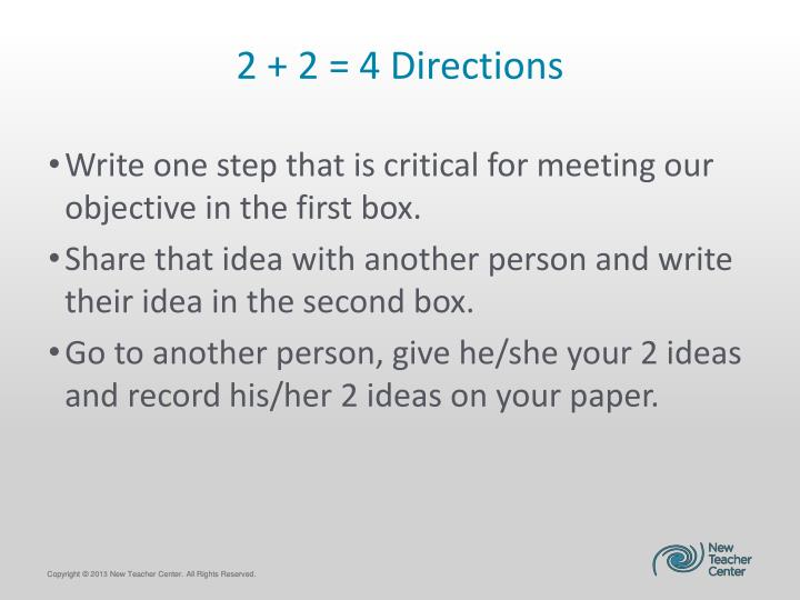 2 + 2 = 4 Directions