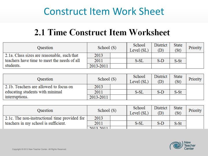 Construct Item Work Sheet