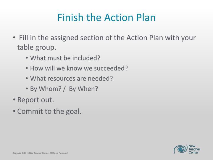 Finish the Action Plan