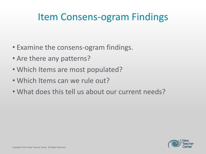 Item Consens-ogram Findings