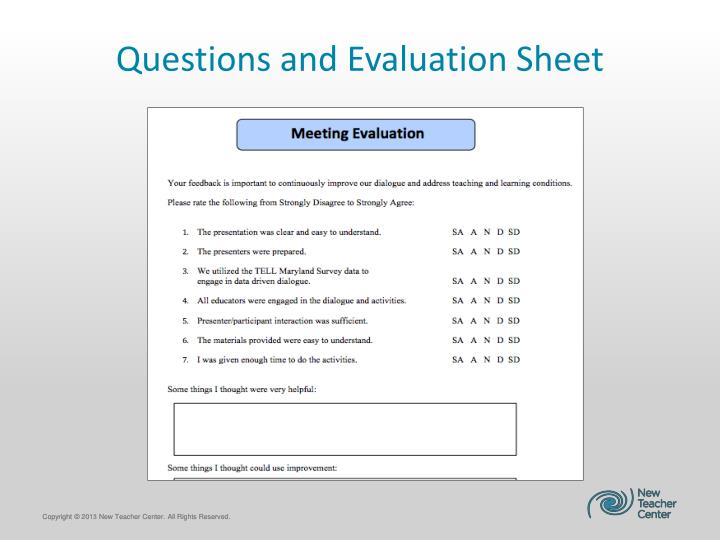 Questions and Evaluation Sheet
