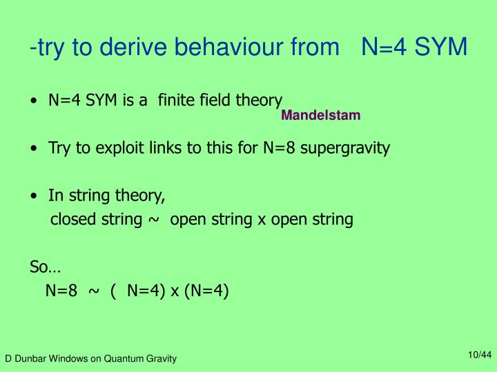 -try to derive behaviour from   N=4 SYM