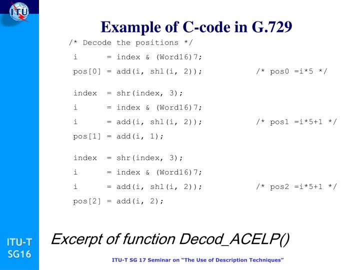 Example of C-code in G.729