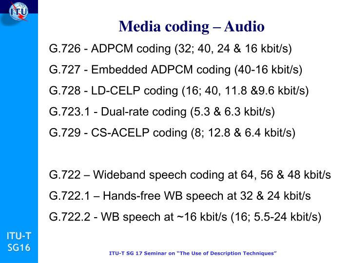 Media coding – Audio