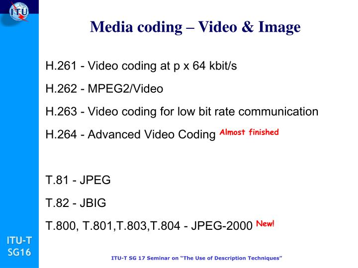 Media coding – Video & Image