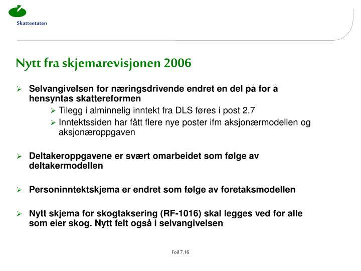 Nytt fra skjemarevisjonen 2006