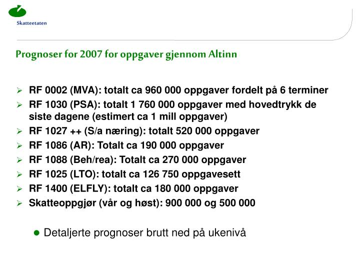 Prognoser for 2007 for oppgaver gjennom Altinn