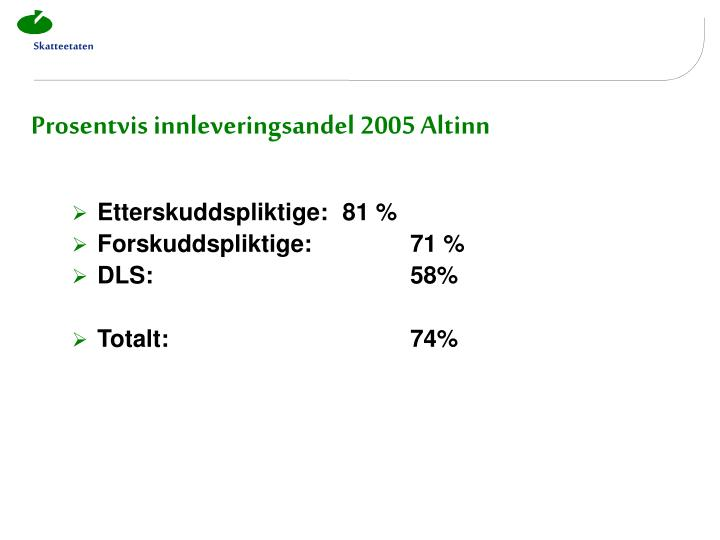 Prosentvis innleveringsandel 2005 Altinn