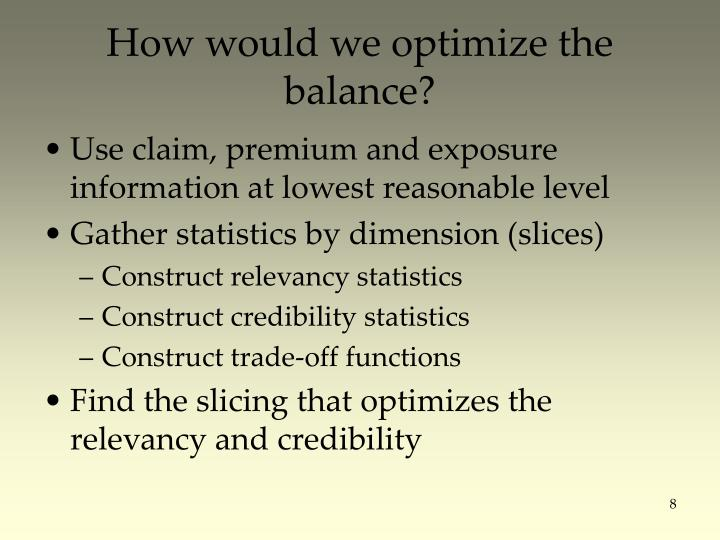 How would we optimize the balance?