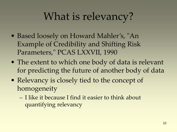 What is relevancy?