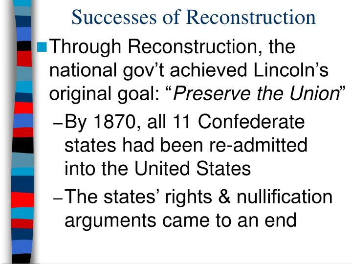reconstruction success failure Test your knowledge of the successes and failures of reconstruction with this printable worksheet and interactive quiz the multiple-choice quiz.