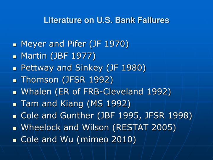 Literature on U.S. Bank Failures