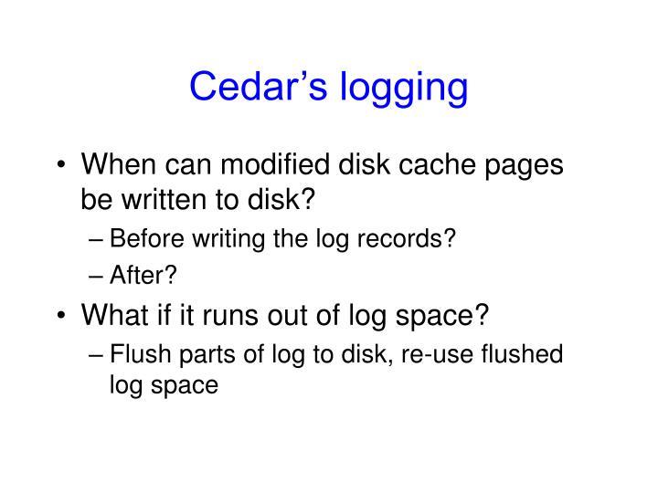 Cedar's logging