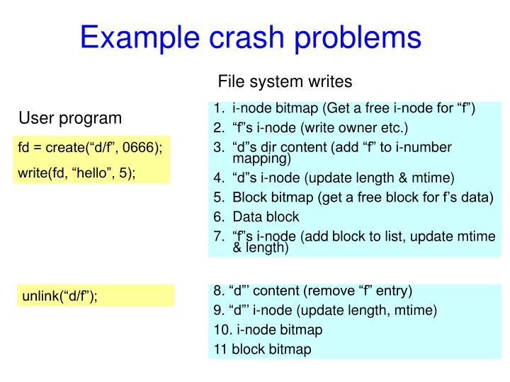 Example crash problems