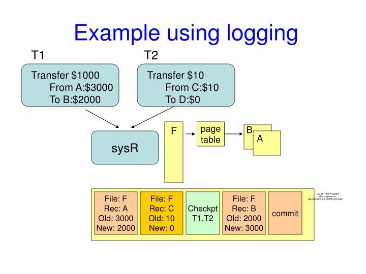 Example using logging