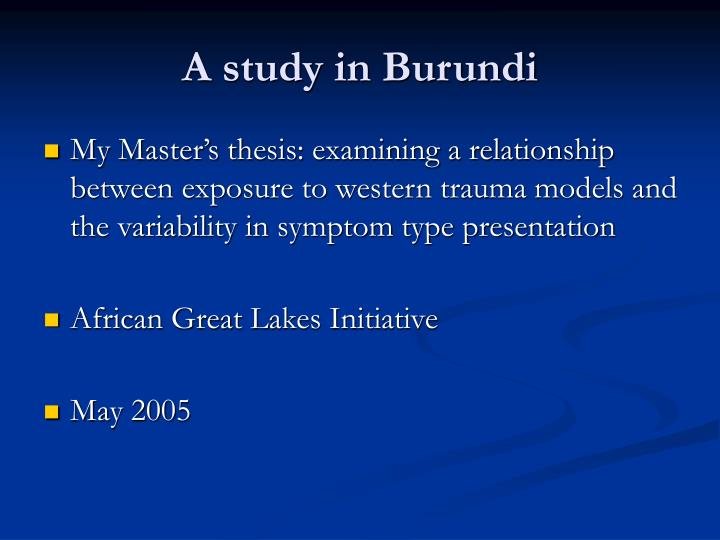 A study in Burundi