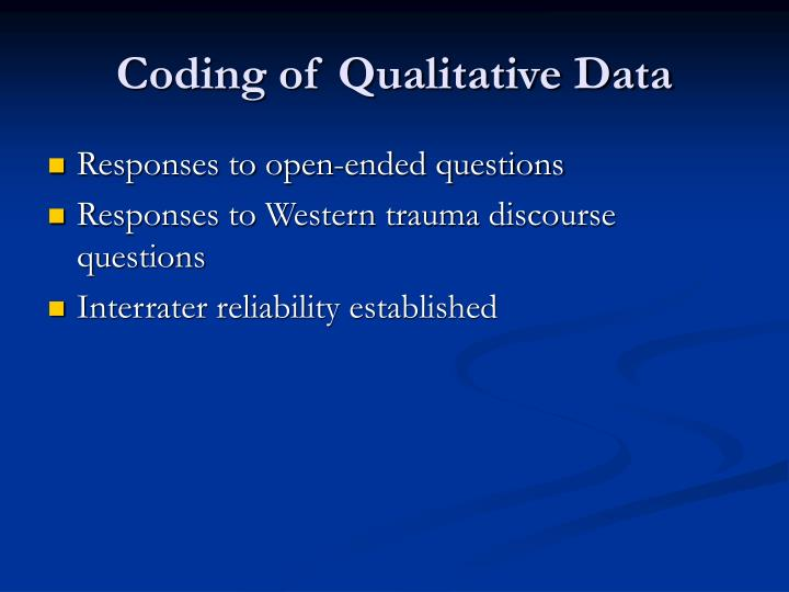 Coding of Qualitative Data