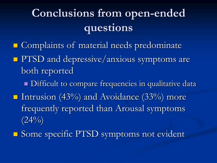 Conclusions from open-ended questions