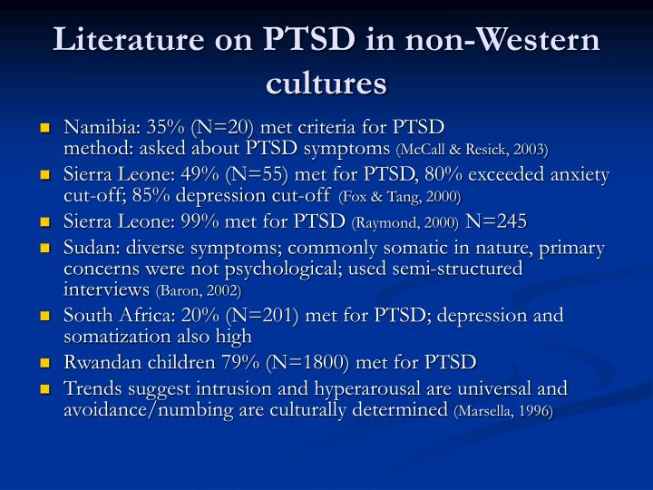 Literature on PTSD in non-Western cultures