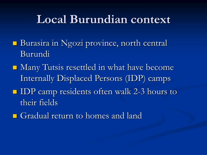 Local Burundian context
