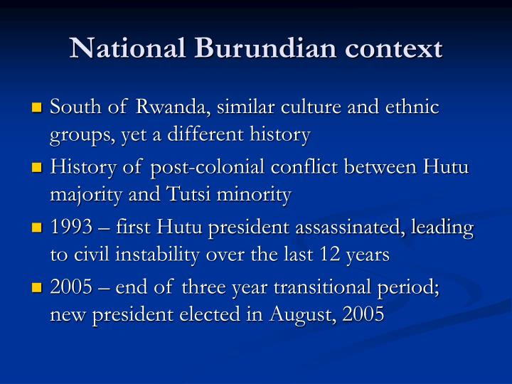 National Burundian context