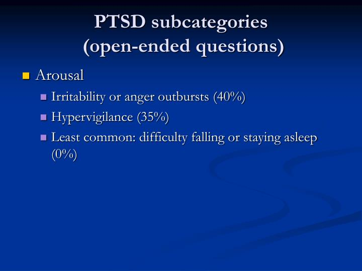 PTSD subcategories