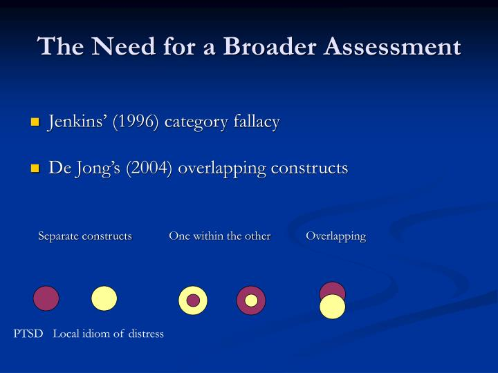 The Need for a Broader Assessment