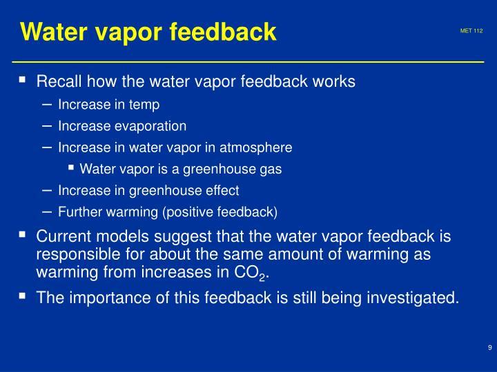 Water vapor feedback