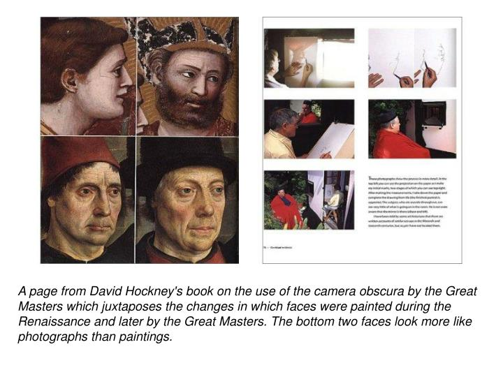 A page from David Hockney's book on the use of the camera obscura by the Great