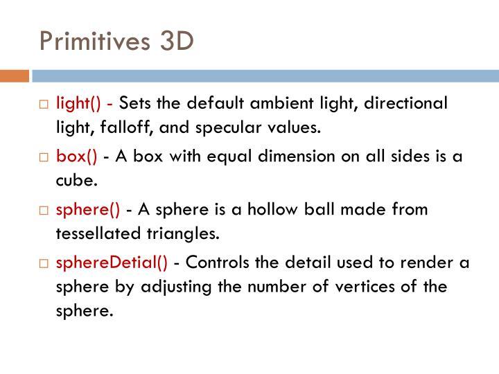 Primitives 3D