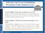 selected court cases establishing precedents under statutory law