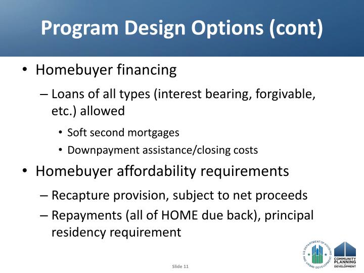 Program Design Options (cont)