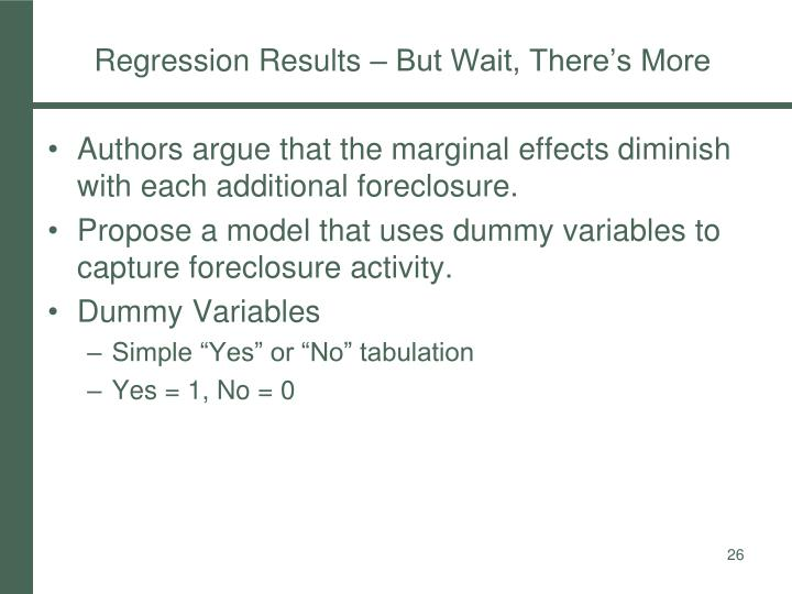 Regression Results – But Wait, There's More