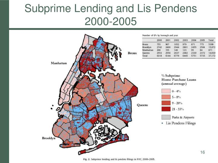 Subprime Lending and Lis Pendens 2000-2005