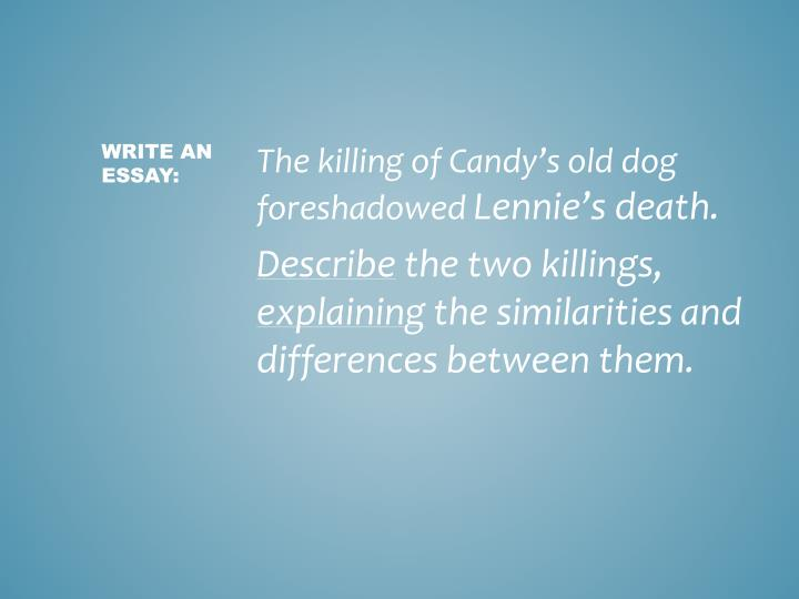 The killing of Candy's old dog foreshadowed