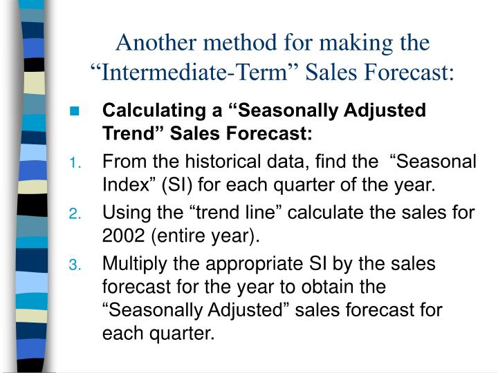 "Another method for making the ""Intermediate-Term"" Sales Forecast:"